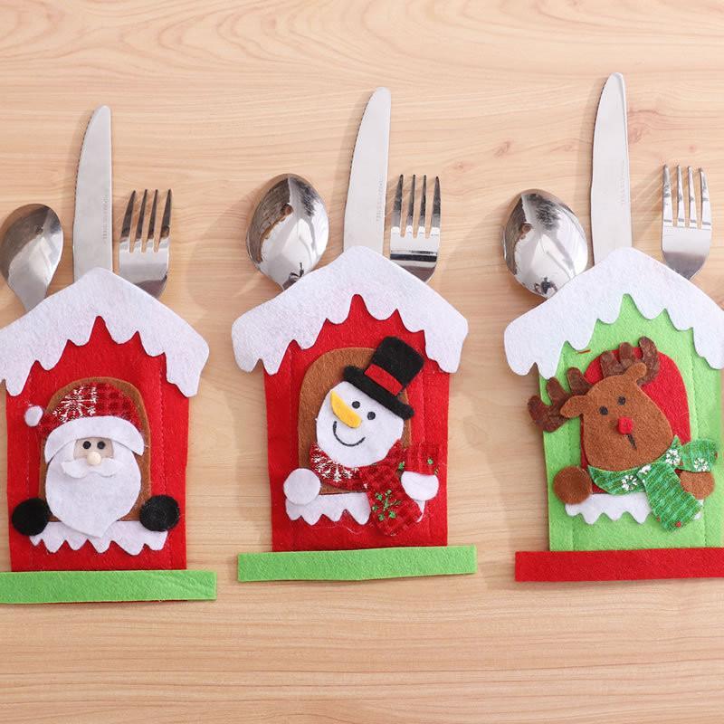 Titolare Cappello da Babbo Natale renna Natale Capodanno tasca Fork Knife posate Bag Casa del partito Dinner Table Decoration articoli per la tavola di trasporto del DHL