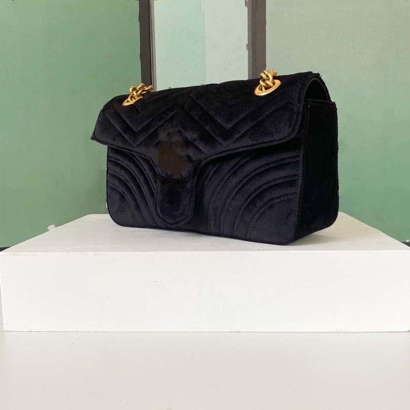 Senhoras Shipping Ombro New Crossbody Bags Grátis Veludo Messagner Metal com Clássico para Mulheres Bag Chain Fusft