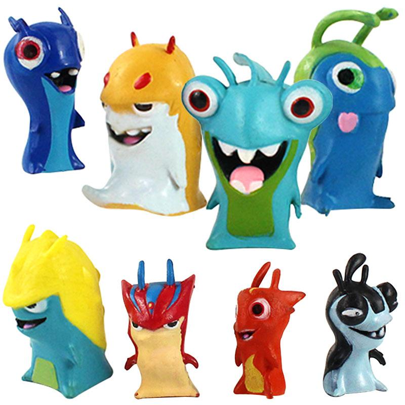 8pcs/set Cartoon Anime Action Figures Toy Mini Slugterra Anime Figures Doll For Children Kids Birthday Gifts