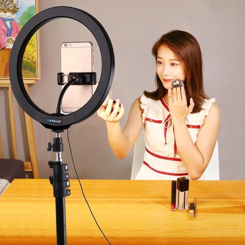 PULUZ 10.2 '' USB 3 طرق عكس الضوء LED الدائري مشاركة في مدونة فيديو الصور الشخصية للأضواء تصوير الفيديو مع حذاء الباردة الكرة ترايبود رئيس الهاتف المشبك