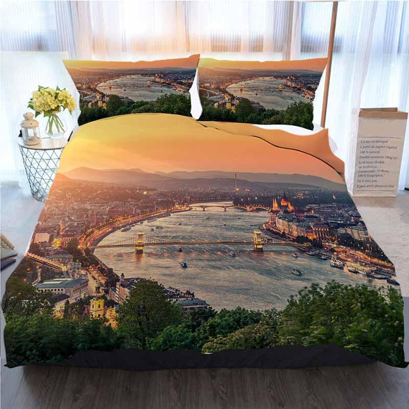 Cityscape cama 3 peças Sets capa de edredão, Budapeste Vista da Cidade, Casa Luxo macia edredon Consolador Tampa