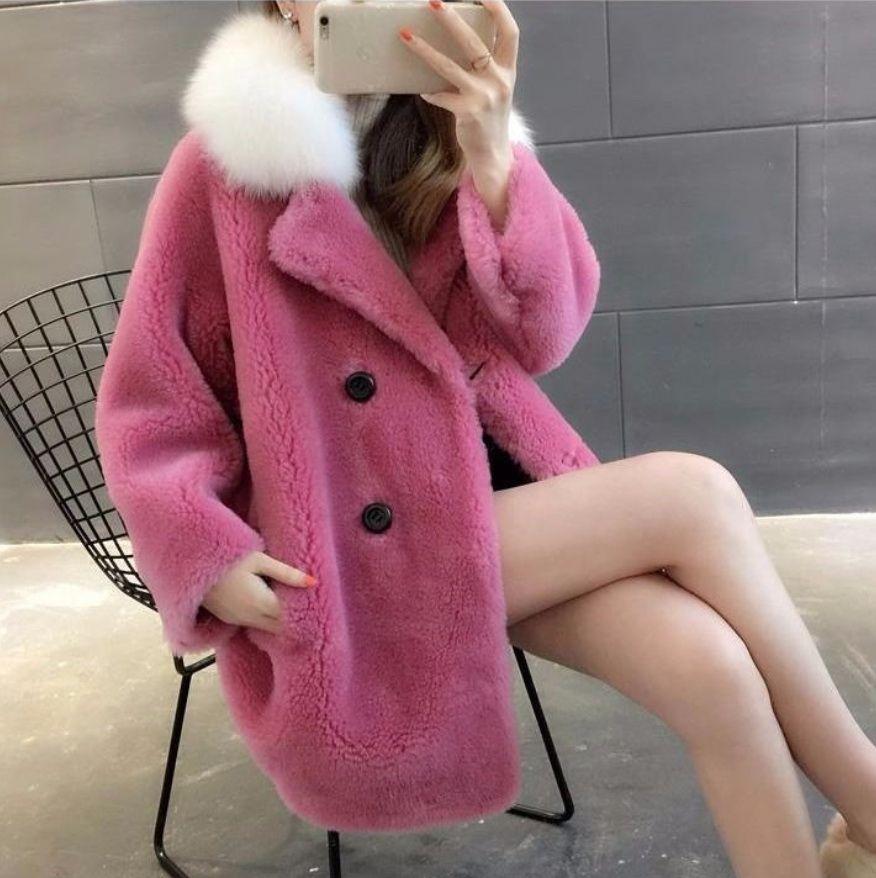 Frauen-Winter-lange Hülse V-Ausschnitt warme lange Faux-Pelz-Mäntel Female Thick Teddybär beiläufige lose Aufmaß Faux Fur Outwears