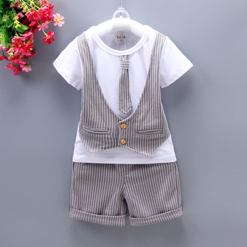 Abiti 2PCs Moda Little Boy vestiti del partito dei capretti del bambino ragazzi del bambino dei vestiti T-shirt + pants di nozze Outfits Set