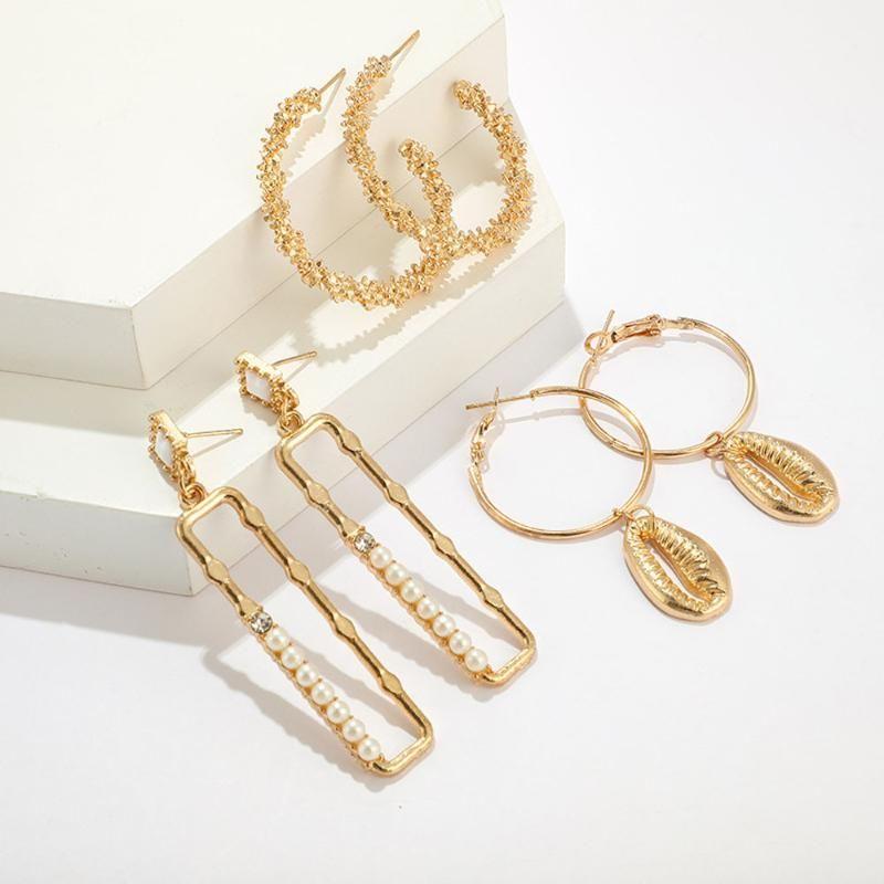 3 Paare Geometrische Ohrstecker Set Frauen Punkrock-Ohrring-Shell-Perlen-Luxus-Ohrringe Schmuck-Accessoires