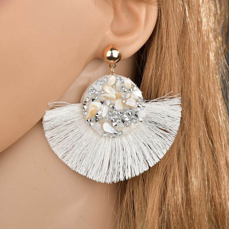 Dichiarazione nuovi orecchini di cristallo lucida della nappa fatti a mano ciondolo strass 2020 delle donne della frangia orecchini per i monili di modo delle donne