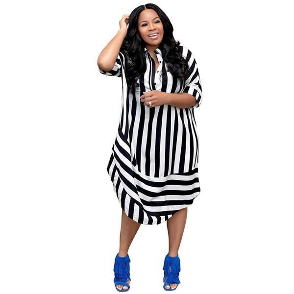 Diseñador de las mujeres vestido rayado remiendo media manga Natural cintura vestir para mujer del verano flojas solapa vestidos de cuello
