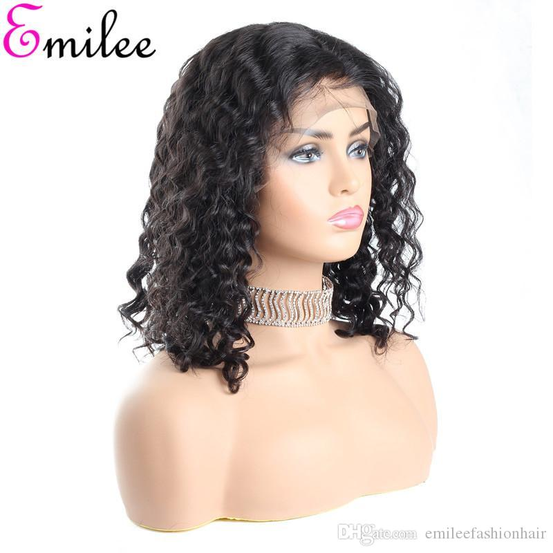Emilee Short Bob Wigs Half Lace Front Indian Human Remy Hair Bob Wigs For Black Women Deep Wave Short Wigs 14 Inch