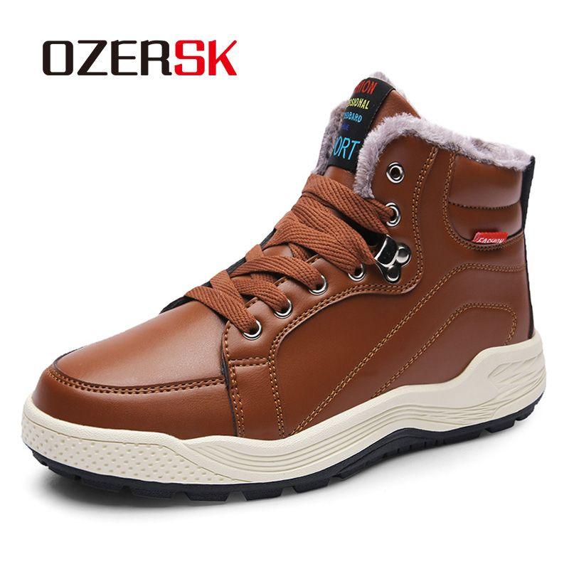Zapatos Ozersk Marca de moda masculina del invierno Botas adulto para los hombres caliente felpa corta calidad de nieve PU impermeable botas de piel de los hombres