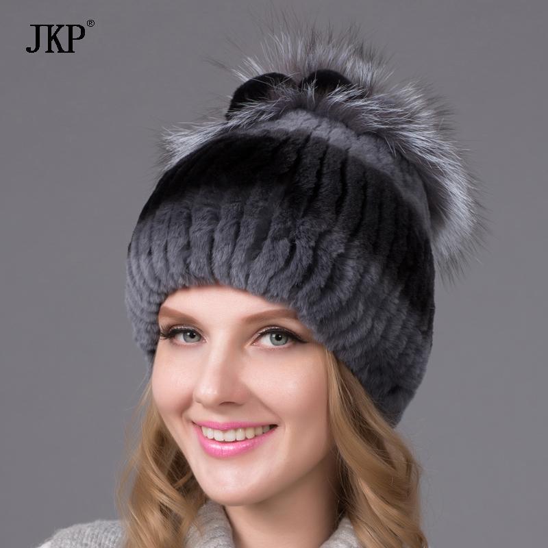 sombrero de piel de invierno para las mujeres sombrero de piel rex real con tapa de las gorritas flor de plata tejida