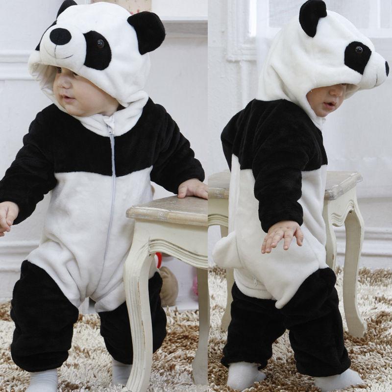 2019 hiver Garçons Bébé Filles Ropmers Enfants Réchauffez Pyjama animaux Panda Dans l'ensemble tout-petits Thicken Vêtements de nuit bébé Jumpsuit0-3Y T200908