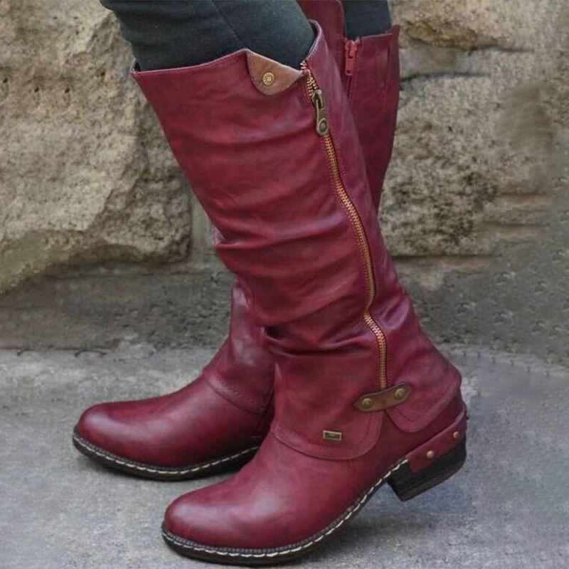 delle donne scarpe di cuoio metà polpaccio Boots Vintage PU britannico donna tacco basso Zip cucito signore Retro Fashion lungo Stivali da donna 2020