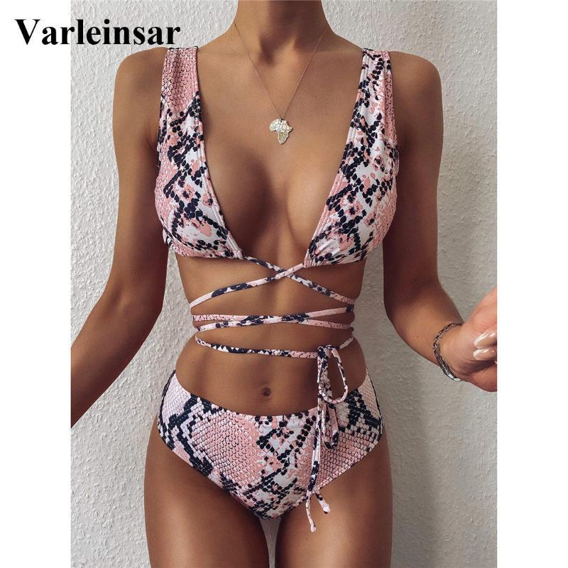 Rosa Schlangen-Haut-hohe Taillen-Bikini Weibliche Badeanzug Frauen Bademode Zweiteilige Bikini-gesetzte Verpackung um Badende Badeanzug Schwimmen V2417