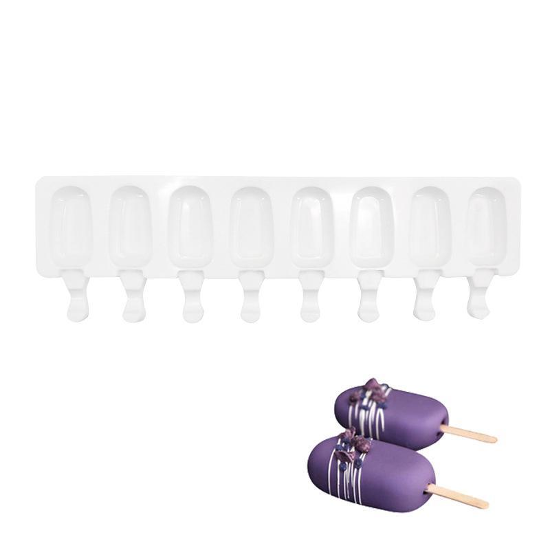 8 Cavity Ice Cream Moule Popsicle Moules Silicone bricolage jus de fruits maison Dessert glace Pop Lolly Plateau moule T200703