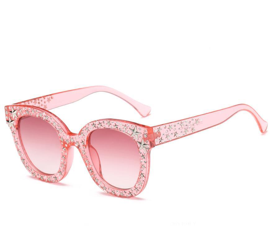 Gafas de sol Rhinestone Protección de plástico Plástico Shape Forma Calidad Altas Lentes Mujeres 5700 Gafas Mariposa UV400 Qasxk
