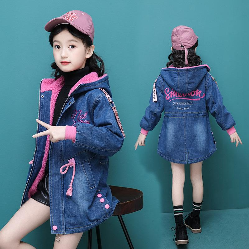 Girls Jackets Winter Thick Cowboy Coats Lamb Wool Children Outerwear Berber Fleece Girl Denim Long Jacket Kids Winter Coats Y200831