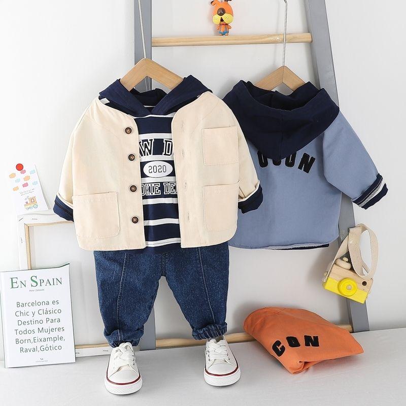 HYLKIDHUOSE criança Sets Roupa infantil 2,020 Primavera Bebés Meninos roupa ocasional da listra camiseta com capuz Casacos Jeans conjunto de 3 peças