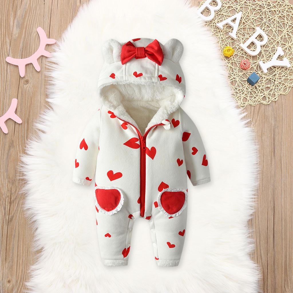 Natale 2019! pagliaccetto appena nato per ragazzi e ragazze, inverno caldo pile pagliaccetto, il cuore di amore tuta di stampa, vestiti del bambino