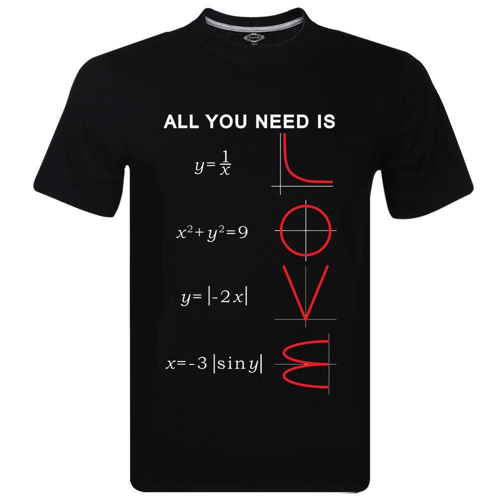 La camiseta de las camisetas 2019 Moda Todo lo que necesita es matemáticas del amor de diseño de logotipo nuevos hombres de la manga corta