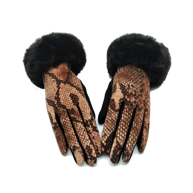 Cinco Luvas de Dedos Moda Inverno Faux Animal Couro Cobra Padrão Mulheres Touch Screen Tela Pele Engrossar Quente Condução D70