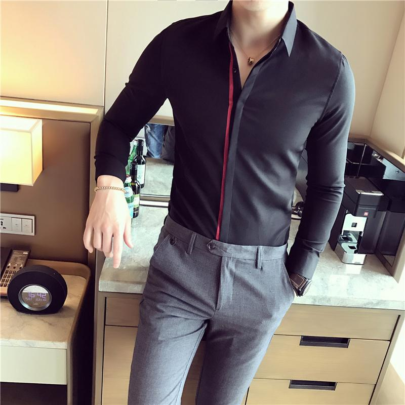Gzdeerax Bianco Nero Mens camice di lusso casuali del nastro a manica lunga partito di modo del Mens Slim Fit Men Dress 2XL