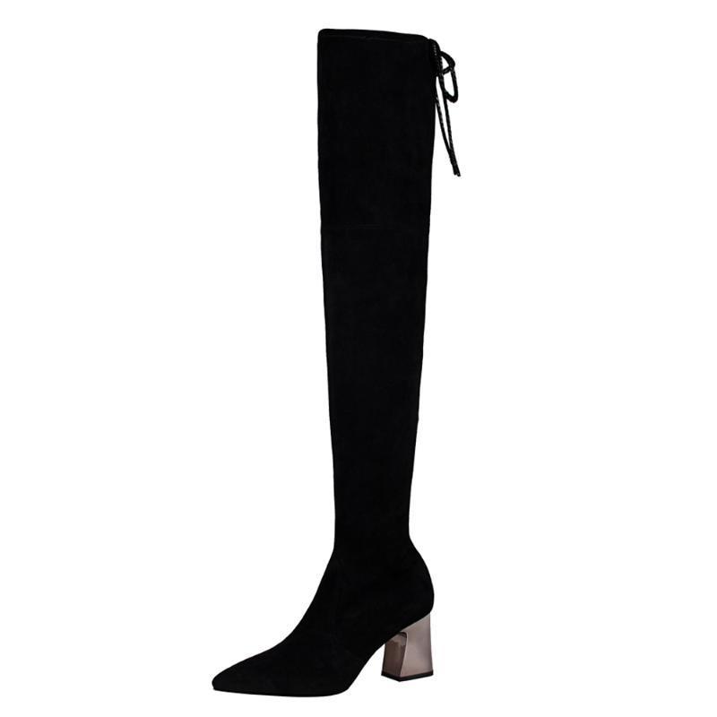 Salto Bloco Coxa Shoes Alta Botas Mulheres curto Plush Lingning Inverno Pointed Toe 7cm de altura Preto Escritório Botas Festa Ladies Shoe