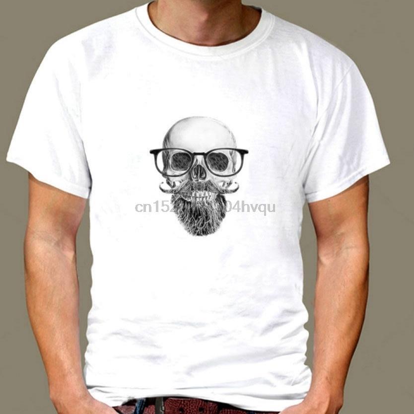 Scull Arrefecer Beard com vidros engraçados camiseta Casual Cotton Branca manga curta camiseta Para as mulheres Homens tshirt