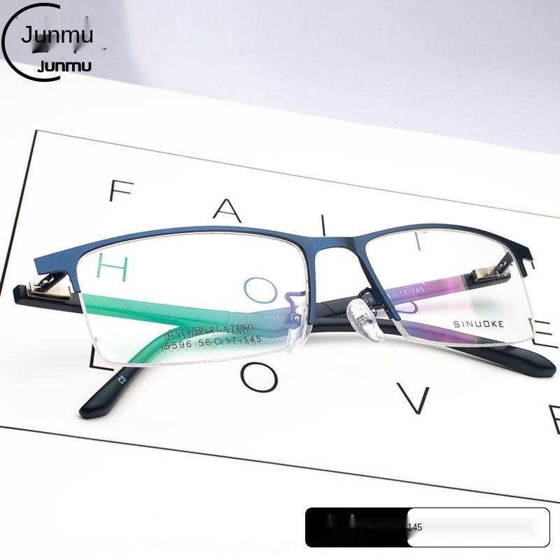 Empresas de duas camadas Femininos UQ3ur galvanizados quadrados liga Luz grande cara metade óculos escuros óculos de armação armação moda