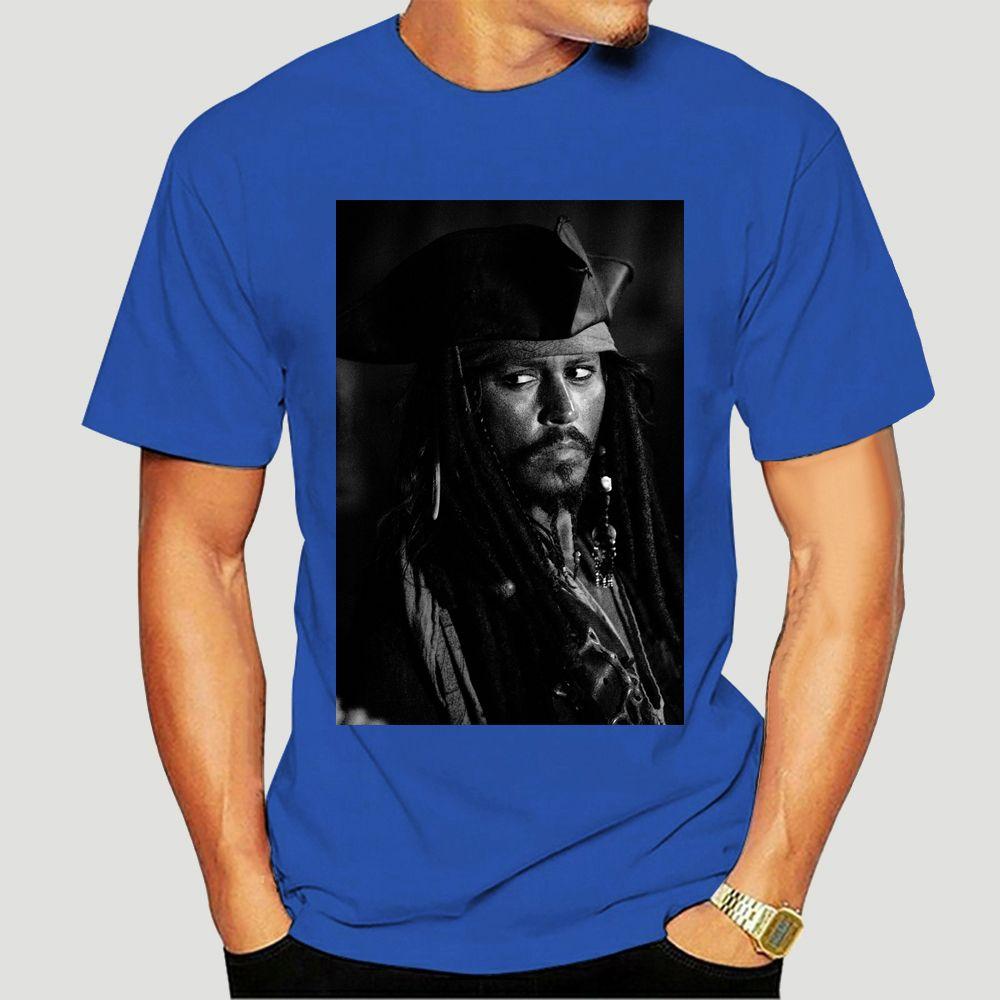 Johnny Depp Jack Sparrow Celebrità maglietta stampa personalizzata al 100% T-shirt Tee Abbigliamento 3-A-280-3158D