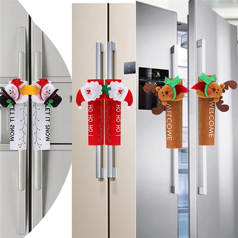 2020 Weihnachten Kühlschrankgriffblenden Weihnachtsmann Mikrowelle Geschirrspüler Tuergriffabdeckung Weihnachtsweihnachtsparty-Dekor 24 * 16 cm