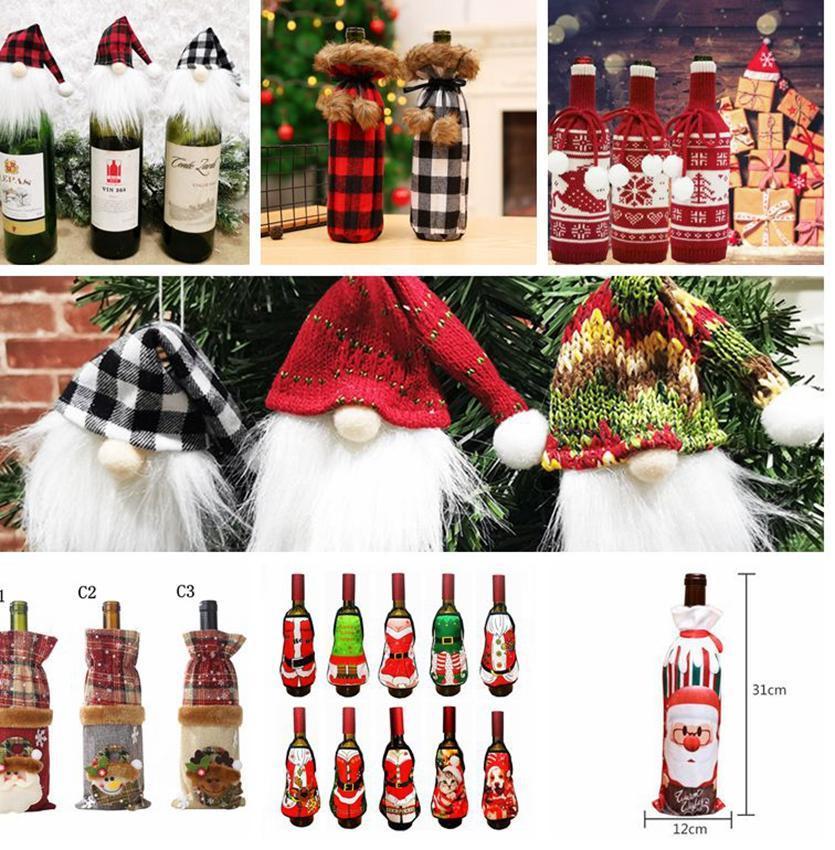Bottiglia di vino rosso di Natale del sacchetto della copertura Xmas Party Dinner Table Decor bottiglia di vino da regalo maglione Xmas Party Decorazione DHE1494