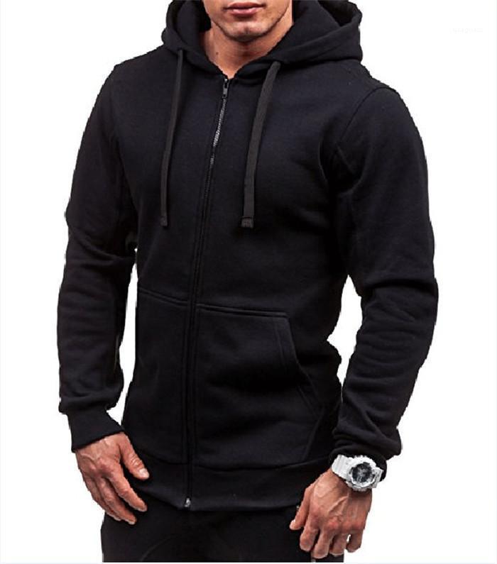 Mit Zipper Solid Color Homme Sweatshirt der Männer der beiläufigen Hoodies Mode Langarm-Kapuzenpulli