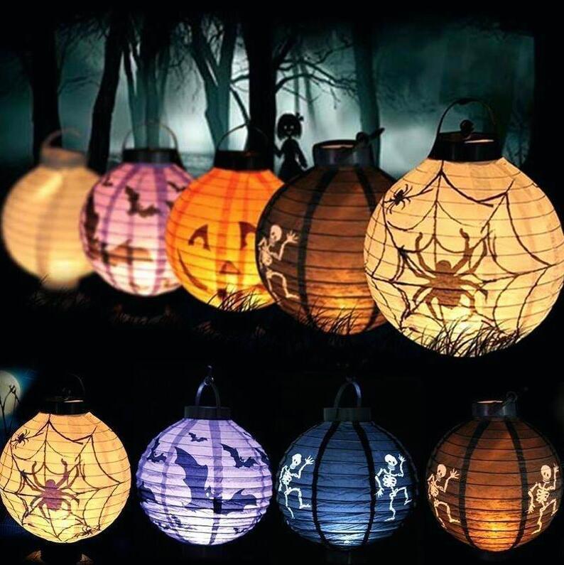 الديكور هالوين بات العنكبوت الجمجمة LED ورقة القرعة معلق فانوس ضوء مصباح الدعائم هالوين الديكور لوازم رعب الرئيسية الطرف