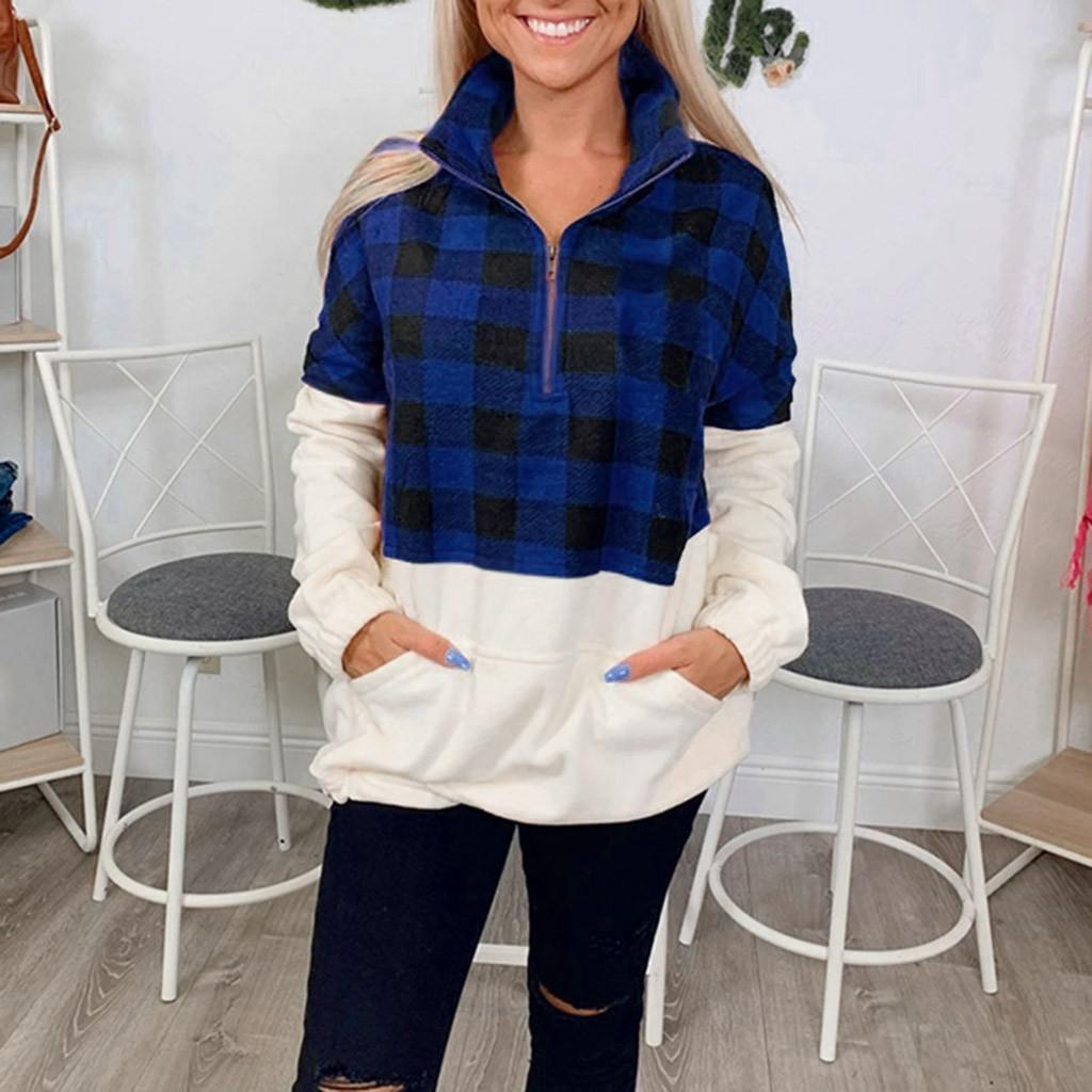 Femmes Mode Flanelle en vrac chaud Pull en cachemire à carreaux chic à manches longues Zipper Sweatershirts Streetwear