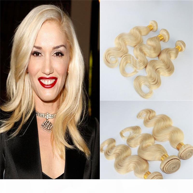 공장 도매 # 613 금발 인간의 머리 번들 버진 처리되지 않은 레미 헤어 확장 바디 웨이브 러시아 인간의 머리 씨실 확장 100g