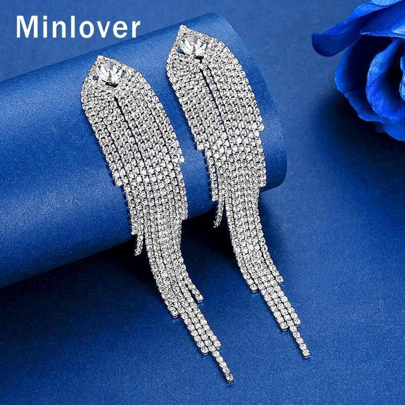 Minlover Silver Цвет металла Длинные кисточкой падение серьги для женщин корейской Rhinestone свадьбы невеста Fringe серьги ювелирные изделия MEH1647