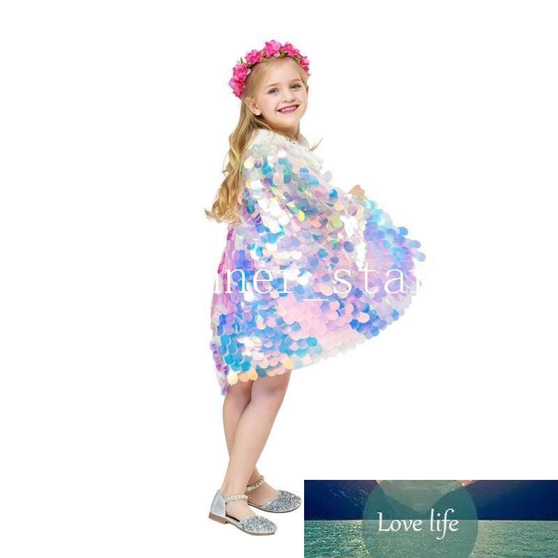 Xaile Sequined do Dia das Crianças Manto crianças Vestuário Meninas Velada Fora Manto