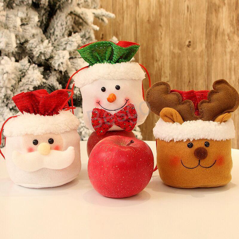 Santa Snowman Gift Storage Bag Christmas Candy Bags Santa Claus Elk Drawstring Bags Christmas Tree Decoration Candy Gift Bags BH4060 TQQ