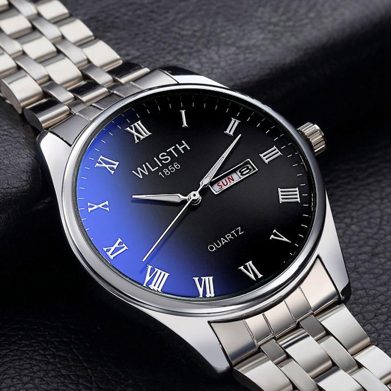 Heißer Verkauf Paare Uhr Mode Dual Kalender Quarzuhr Freizeit Blaue Licht Wasserdichte Stahl Armbanduhren Für Männer und Frauen