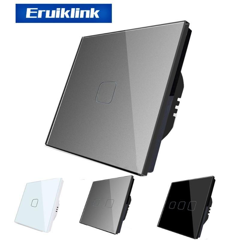 EU / UK Standard Light Wall сенсорный экран переключатель, AC110-250V Сенсорный выключатель Кристал Гласс панель 1 Gang 1 Way настенный выключатель