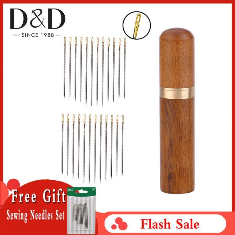 24X Selbst Threading Needles Handnähnadeln Sets Verschiedener Haushalt Reparatur in einem Wood Tube Zu