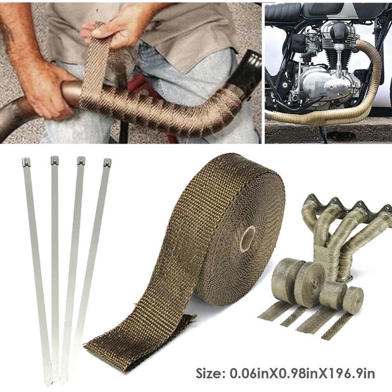 5 millions de voitures Moto Heat Shield Wrap Turbo échappement chaleur Ruban Wrap tuyau collecteur Shields tête Rouleau isolant Tissu titane