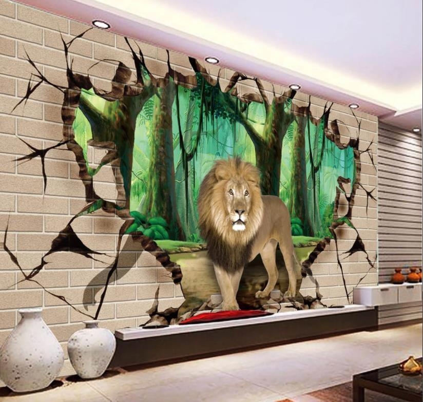 Encargo del papel pintado 3D de fotos roto muro de animal que vive en 3D flores habitación caliente del sofá del dormitorio del fondo del papel pintado mural 3D
