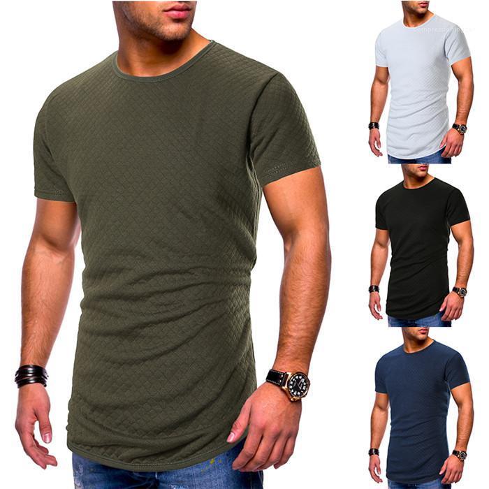 Manches O-Neck T-shirts de couleur unie Homme Rue Vêtements pour hommes Slim Fit T-shirt d'été court