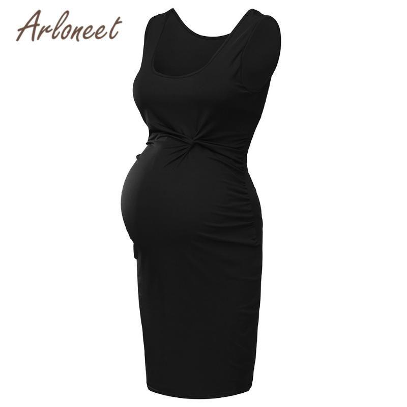 ARLONEET Clothes women maternity dresses solid sleeveless dress knee 2020 Summer Patry elegant ladies pregnanct Vestidos