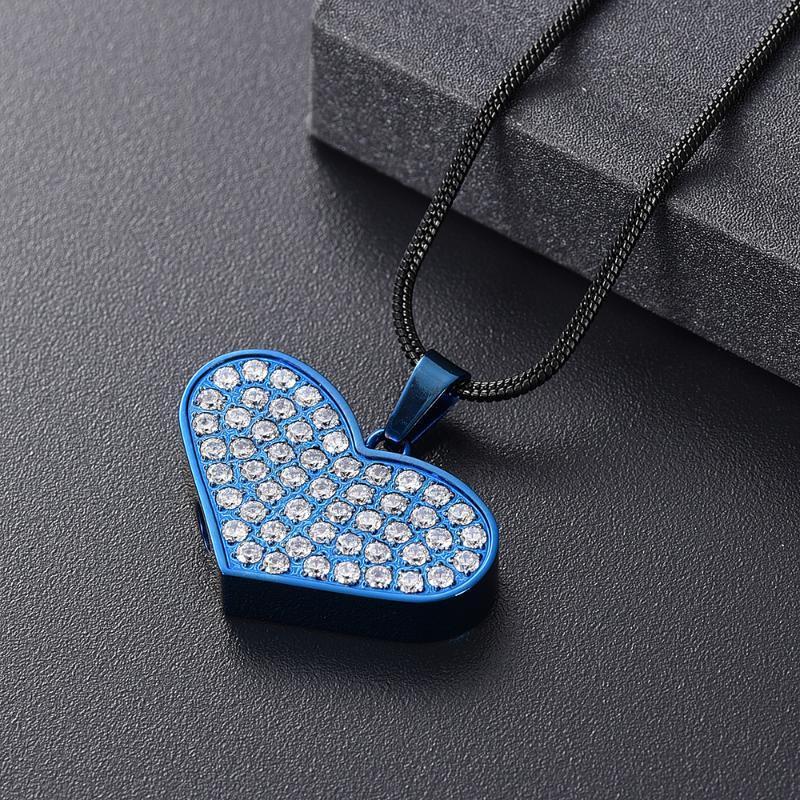 IJD11329 Inlay Kristall herzförmige Edelstahl Einäscherung Andenken Schmuck Halskette für Ashes Souvenir Schmuck