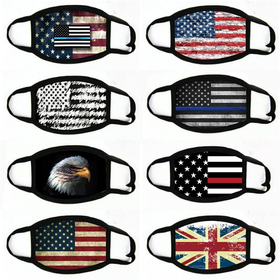 American Flag Fashion Printing Gesichtsmaske staubdicht winddicht Sonnenschutz Hood Radfahren MaskWashable Masken # 561