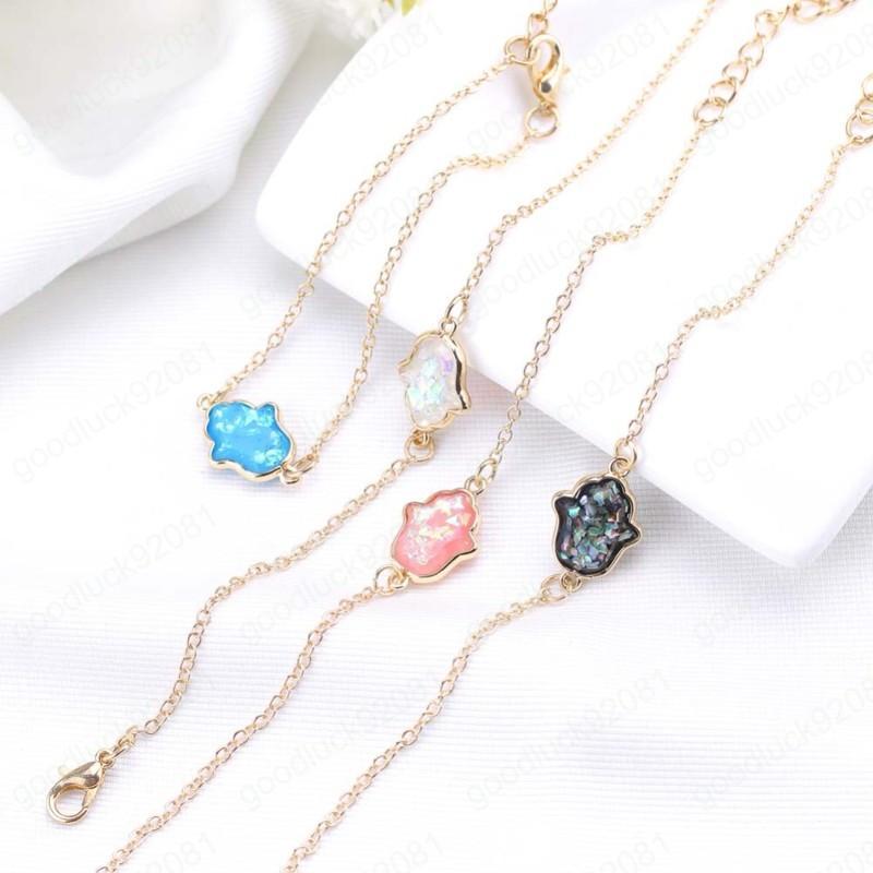 NOUVEAU Mode Opal Charm Bracelet Chaîne en or Bracelets pour Femmes Blue Pink Palm Palmade Bijoux Bijoux Cadeaux Dropshipping