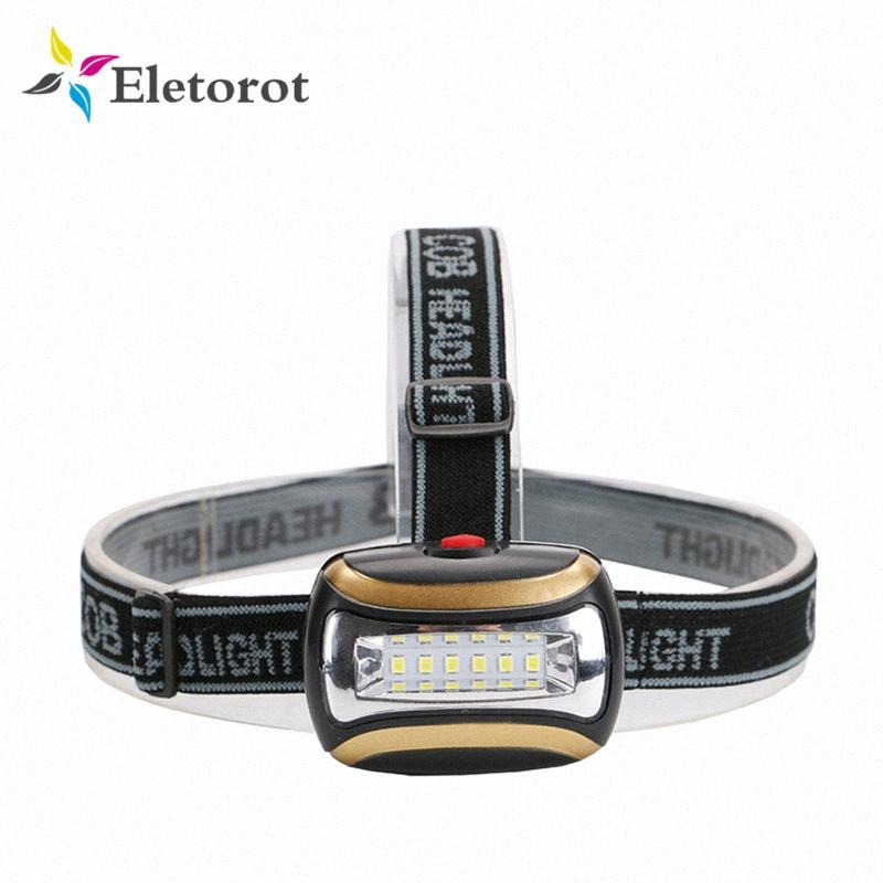 Eletorot phares LED 6 * COB 3 Modes Headlamp camping en plein air avant Lampe frontale Lampe Pour 3 piles H8GT #