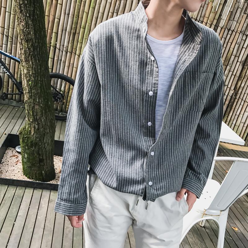 Automne 2019 lin rayé version coréenne des hommes de chemise à manches longues de la tendance de fashion2019 des hommes de chemise en vrac