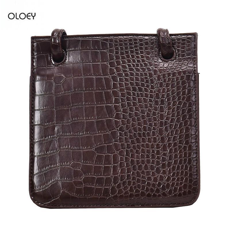 OLOEY Art und Weise hochwertige weibliche Handtasche Krokodil quadratische Tasche Retro einfach lässig Multi-Layer-Messenger Tasche Doppel Schulter